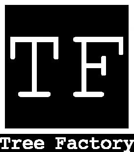 Tree Factory logo white 2021 + Schrift TF